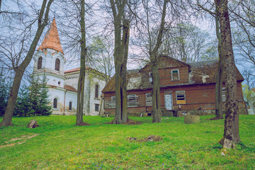 Spring in Lithuania. View old church.