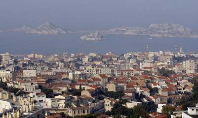 General view of the castle of If and the Frioul island in Marseille