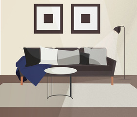 Living room sofa couch scandinavian minimalistic interior. Modern indoor home design with furniture raster illustration