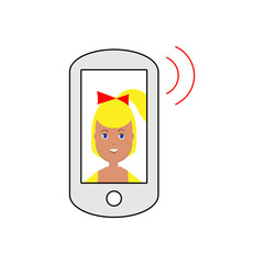Vector image of a smartphone publishing a sound with a smiling girl on the screen, a flat icon for a social network or website