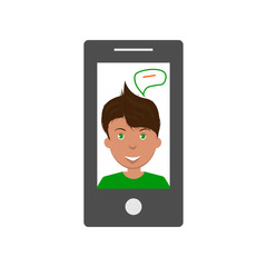 Vector image of a thinking man on a tablet screen, a flat icon for a social network or a website