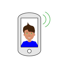 Vector image of a smartphone publishing a sound with a smiling man on the screen, a flat icon for a social network or website