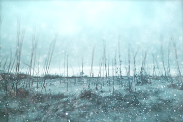Winter background blurred snow field landscape