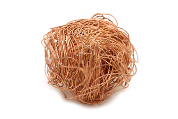 Crumpled copper wire on white background