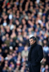 Chelsea's manager Mourinho watches soccer match against Fulham at Craven Cottage