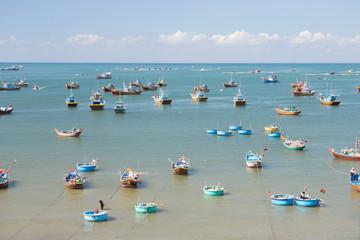 Mui Ne fishing village and traditional Vietnamese fishing boats