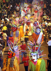 Jakarta traditional puppets participate in a street carnival in central Jakarta.