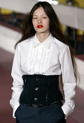 A model presents an outfit by Japanese designer Yasuko Furuta during the TOGA Autumn/Winter collecti..