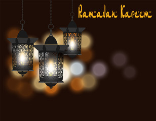 Ramadan Kareem. Greeting card. Lanterns in oriental style. Isolated on a background of colored lights. illustration