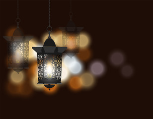Ramadan Kareem. Celebratory background. Flashlight in oriental style. Against the background of colored lights. illustration