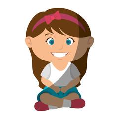 cute little girl character vector illustration design