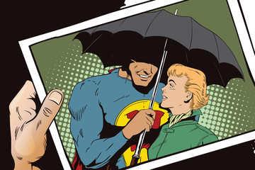 Superhero saves girl from rain. A hero holds an umbrella over a woman. Stock illustration.