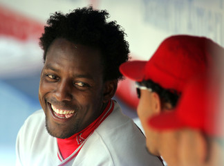 Los Angeles Angels of Anaheim's Guerrero smiles before game against Yankees in New York.