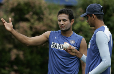 India's Pathan reacts to the texture of the ball during a training session in Sydney