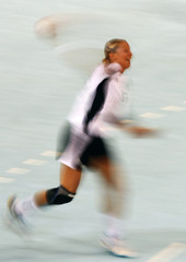 Nadine Krause of Germany takes a shot during their women's preliminary round Group B handball game against Sweden at the Beijing 2008 Olympic Games