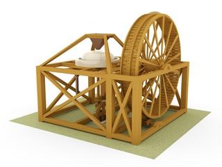 Tread mill, Leonardo da Vinci; Codex Atlanticus 0045r