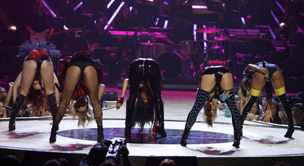 Nicole Scherzinger and the Pussycat Dolls perform during the 2008 Fashion Rocks concert to begin the 2009 Spring/Summer Fashion Week in New York