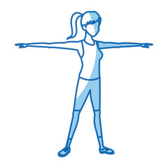 sport girl training stretch open arms vector illustration