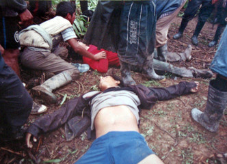Coca grower Celestino Ricaldes lies dead after clashes between police and farmers in Pampa Amarilla