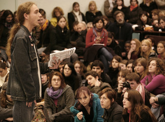 A student speaks during a general meeting at university of Lille III in Villeneuve d'Ascq