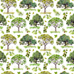 Green trees. Park, forest pattern. Seamless background with leaves. Watercolor