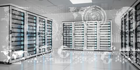Graph holograms flying over server room data center 3D rendering