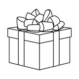 Gift Box Present Decoration Line Vector Illustration
