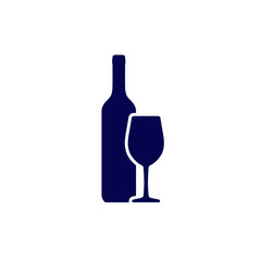 Wine bottle and wineglass vector icon isolated on white background