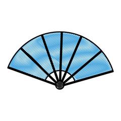 drawing fan folding ornament traditional vector illustration