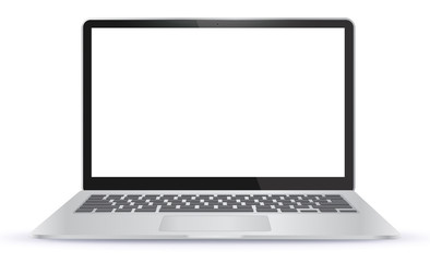 Laptop Computer With Blank Screen Isolated On White Background