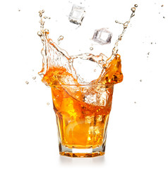 Wall Mural - ice cubes falling into a splashing orange cocktail