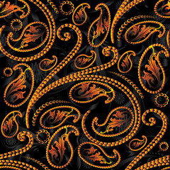 Paisley seamless pattern. Floral background wallpaper illustration with vintage orange 3d paisley flowers, swirl leaves and surface antique oriental paisley ornaments. Vector fabric pattern texture.