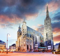 Vienna Stephansdom at colorful sunset in Austria