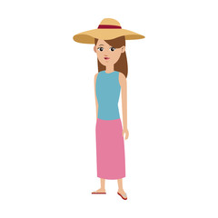 cute girl tourist travel clothes hat vector illustration