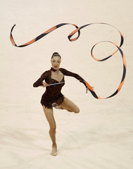 Elizabeth Paisieva of Bulgaria performs with the ribbon during the individual all-around qualification of the rhythmic gymnastics competition at the Beijing 2008 Olympic Games