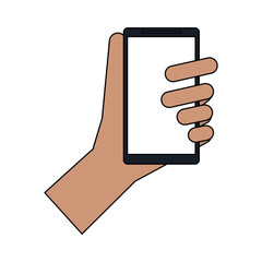 colorful image cartoon hand holding smartphone device vector illustration
