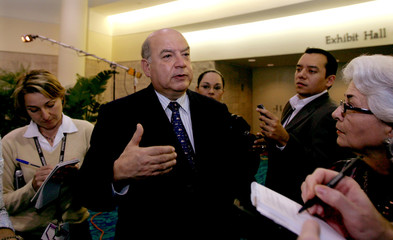 OAS Secretary General Insulza speaks to press, Florida.