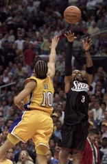 ALLEN IVERSON SHOOTS DURING OVERTIME NBA FINALS GAME ONE.