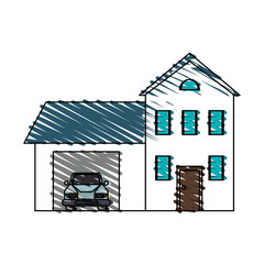 color crayon stripe cartoon facade two house floors with garage and car vector illustration