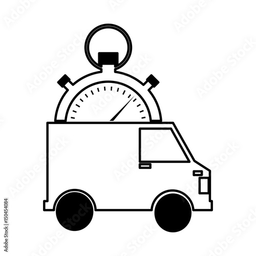 u0026quot van and compass delivery service icon vector illustration
