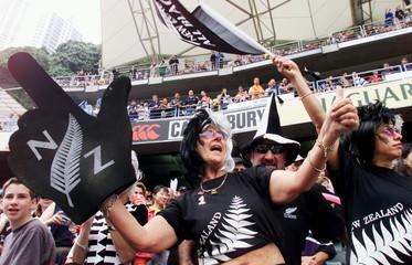 NEW ZEALAND FANS REACT AT HONG KONG SEVENS RUGBY MATCH.