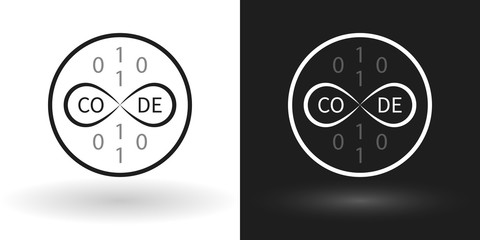 Creative code icon using the sign of infinity in white and black version