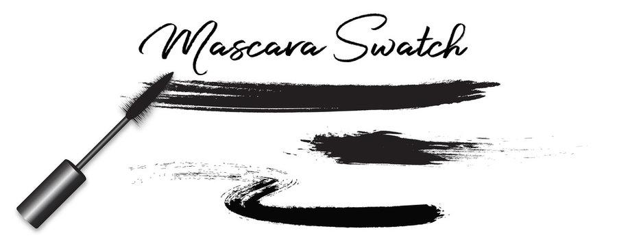 Vector realistic mascara brush, swatches isolated on white background. Cosmetics product concept, grunge brush.