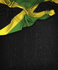 Jamaica Flag Vintage on a Grunge Black Chalkboard With Space For Text
