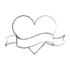 heart love with ribbon romantic icon vector illustration design
