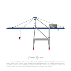 Port crane. Cargo lift for loading containers to the ship. Vector illustration