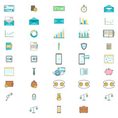 Simple Set ofBusinessand Finance Vector Line artIcons. Contains suchIconsascredit card, diagram, mail, safe box, calendar, phone, scales and more.