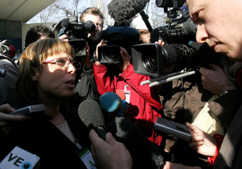 Ponte, lawyer for a Madrid train bombings victims association, speaks to the media outside the High Court in Madrid