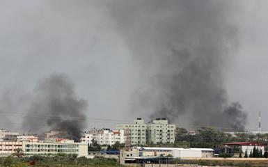 Smoke rises from Beit Hanoun in the northern Gaza Strip