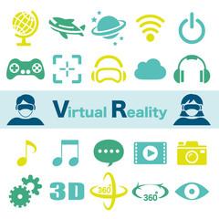 VR バーチャルリアリティ アイコンセット